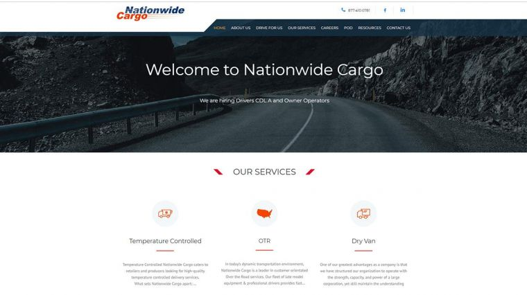 Изработка на сайт - Nationwide Cargo